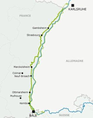 Carte EuroVelo 15 en France