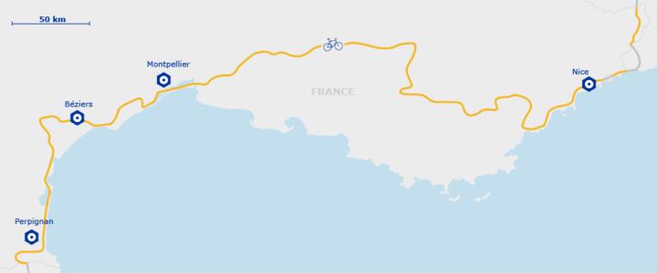 Carte de l'EuroVelo 8 en France