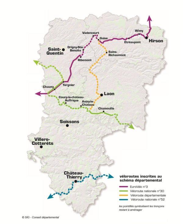 Schéma véloroutes voies vertes Aisne