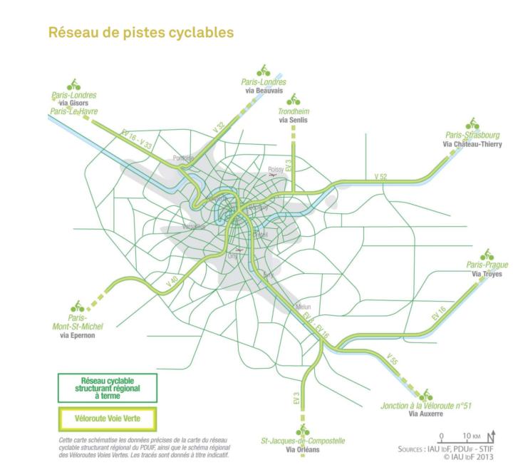 Carte réseau cyclable Ile-de-France