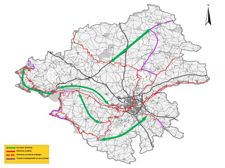 Carte itinéraires cyclables CD44