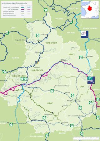 Carte itinéraires cyclables Centre-Val de Loire