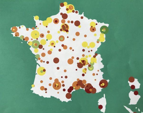 Carte des villes cyclables selon le premier Baromètre de la FUB