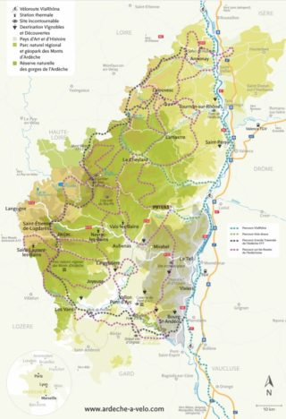 Carte Ardèche à vélo