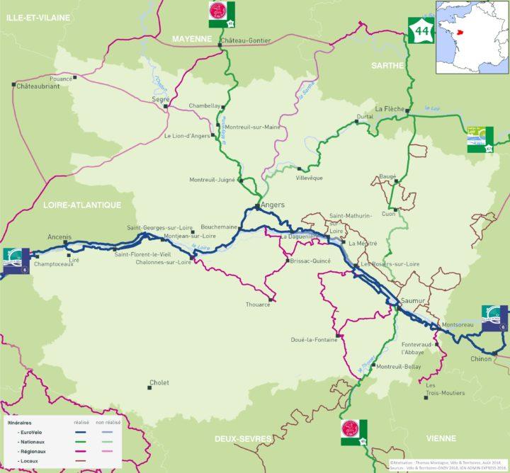 Carte des itinéraires cyclables du Maine-et-Loire