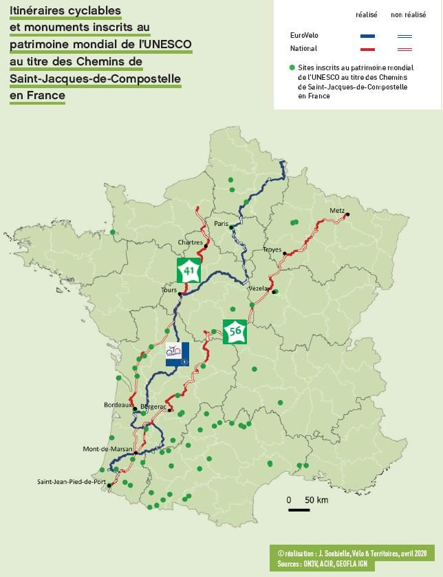 Carte Saint-Jacques à vélo