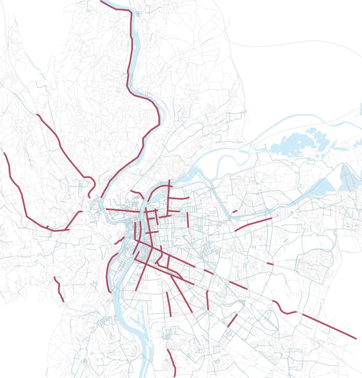 [Illustration 1] Réseau des aménagements cyclables temporaires de la Métropole de Lyon