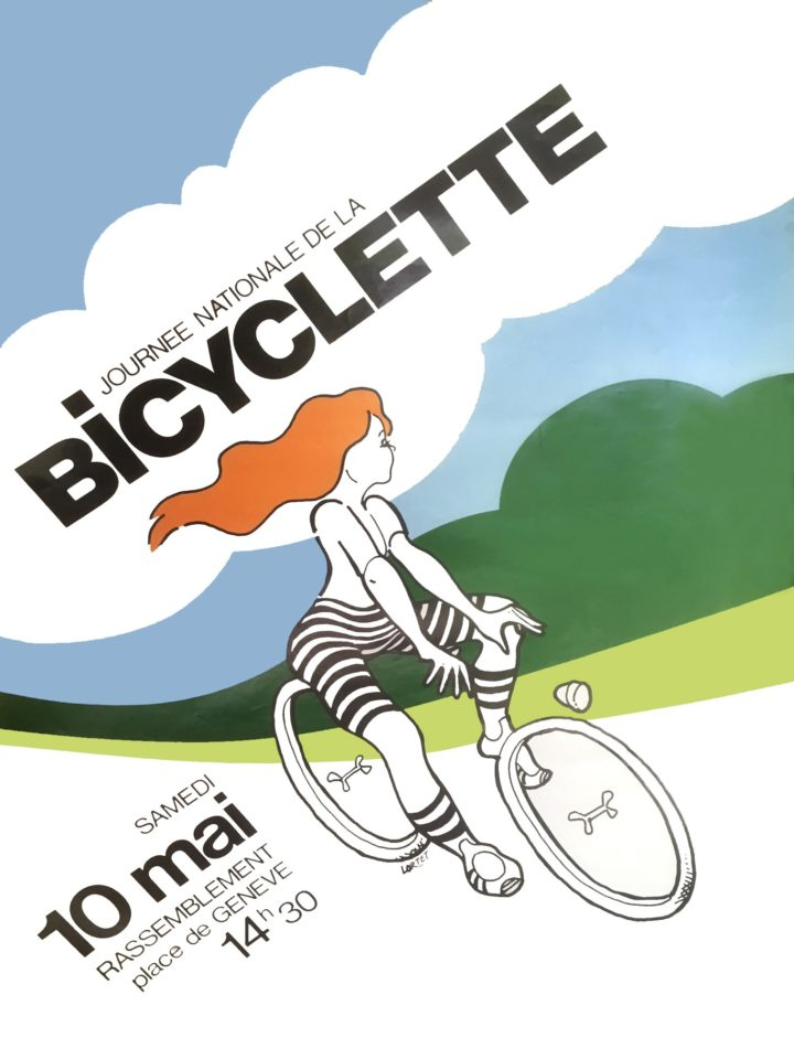 Affiche réalisée par Pierre Lortet pour la première journée nationale de la bicyclette de mai 1978